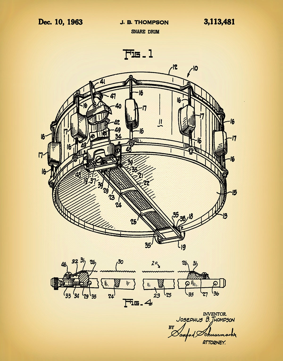 1963 Snare Drum Patent Print Marching Band Decor Music Room Diagram Gallery Photo