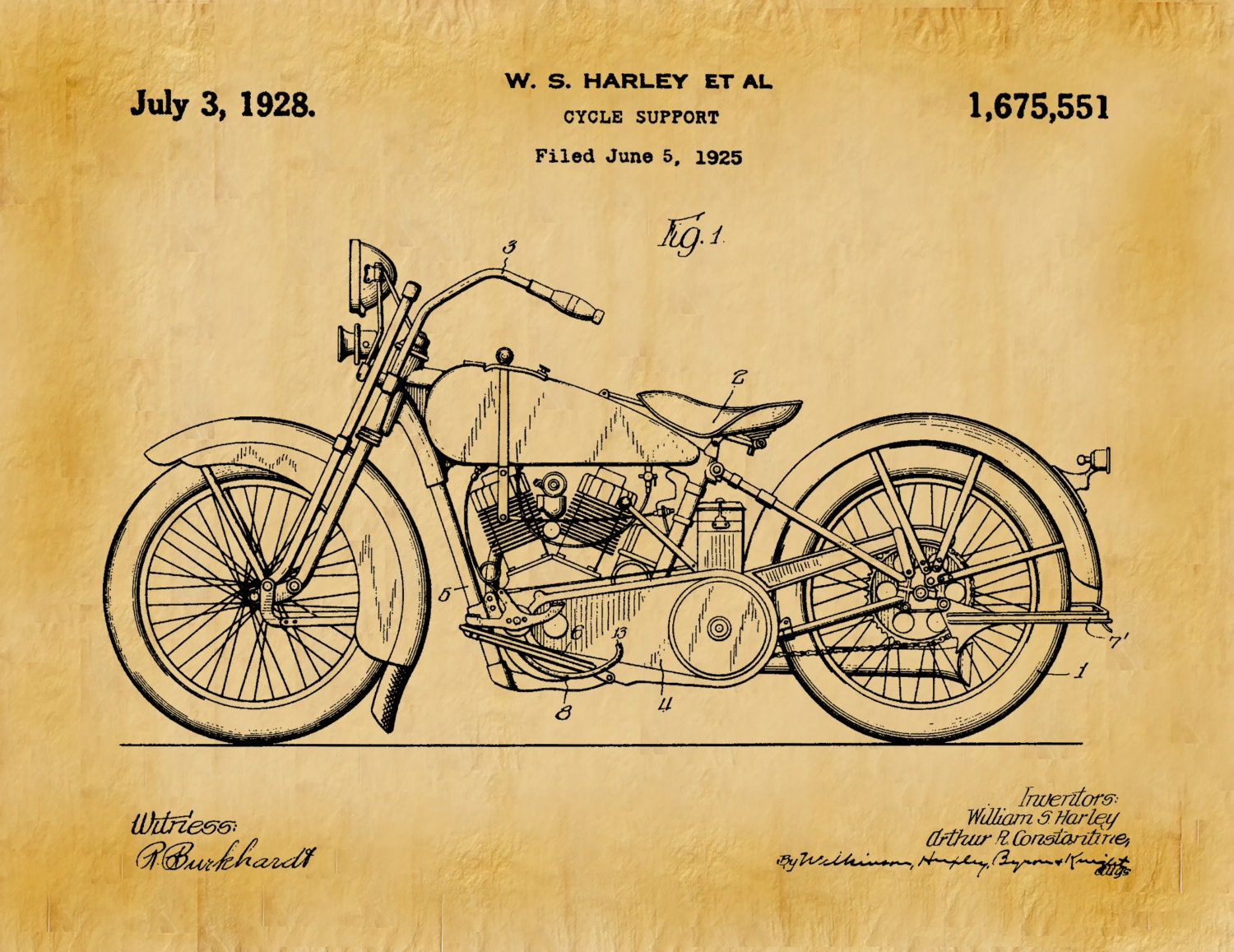 1928 Harley Motorcycle Patent Print - Vintage Harley Davidson Motorcycle  Poster - Harley Davidson Decor - Harley Collector Gift Idea