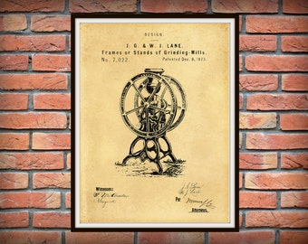 Patent 1873 Coffee Mill Frame Coffee Grinder for Enterprise and Others- Kitchen Art- Poster - Restaurant and Coffee Shop Wall Art