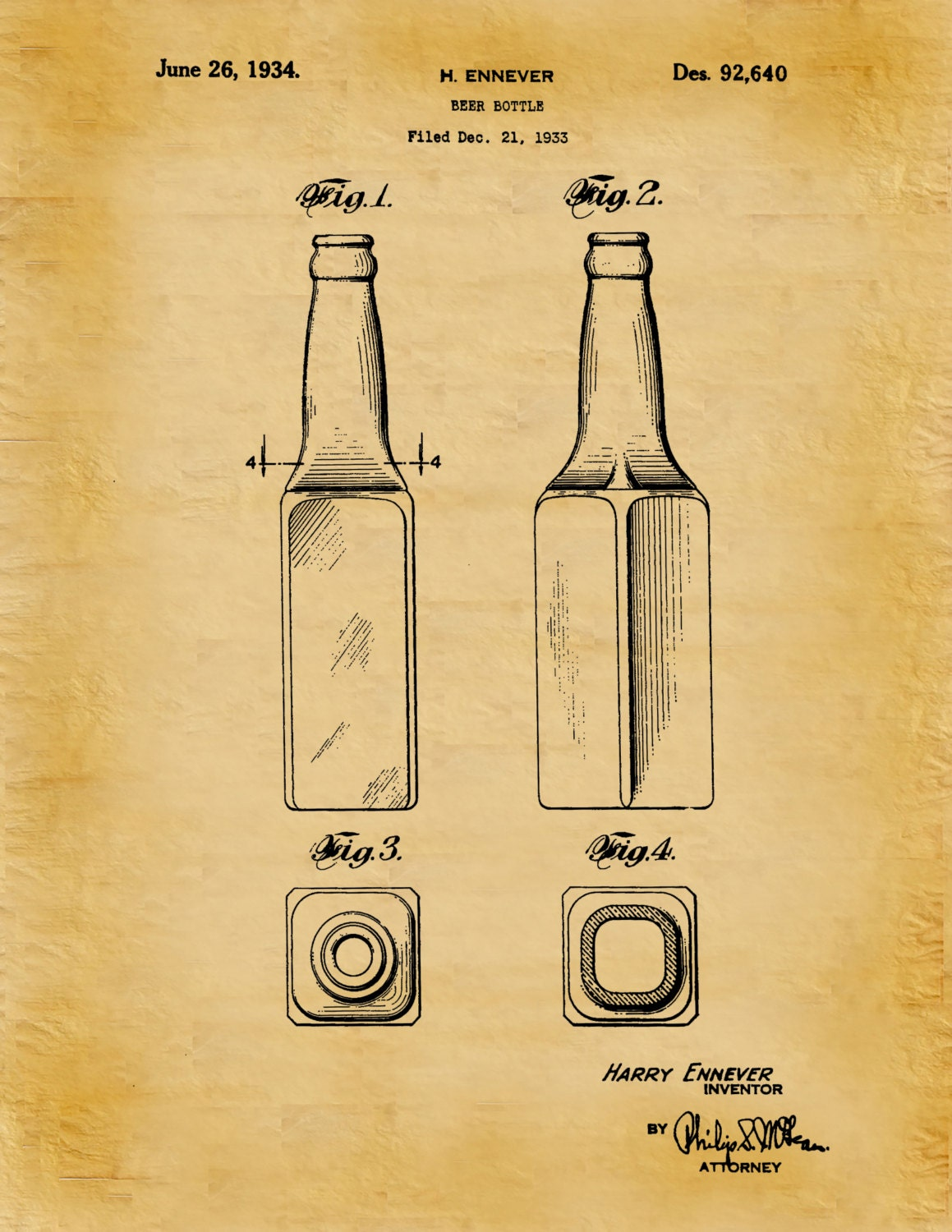 1934 Beer Bottle Patent Print - Beer Poster - Tavern Wall Art ...