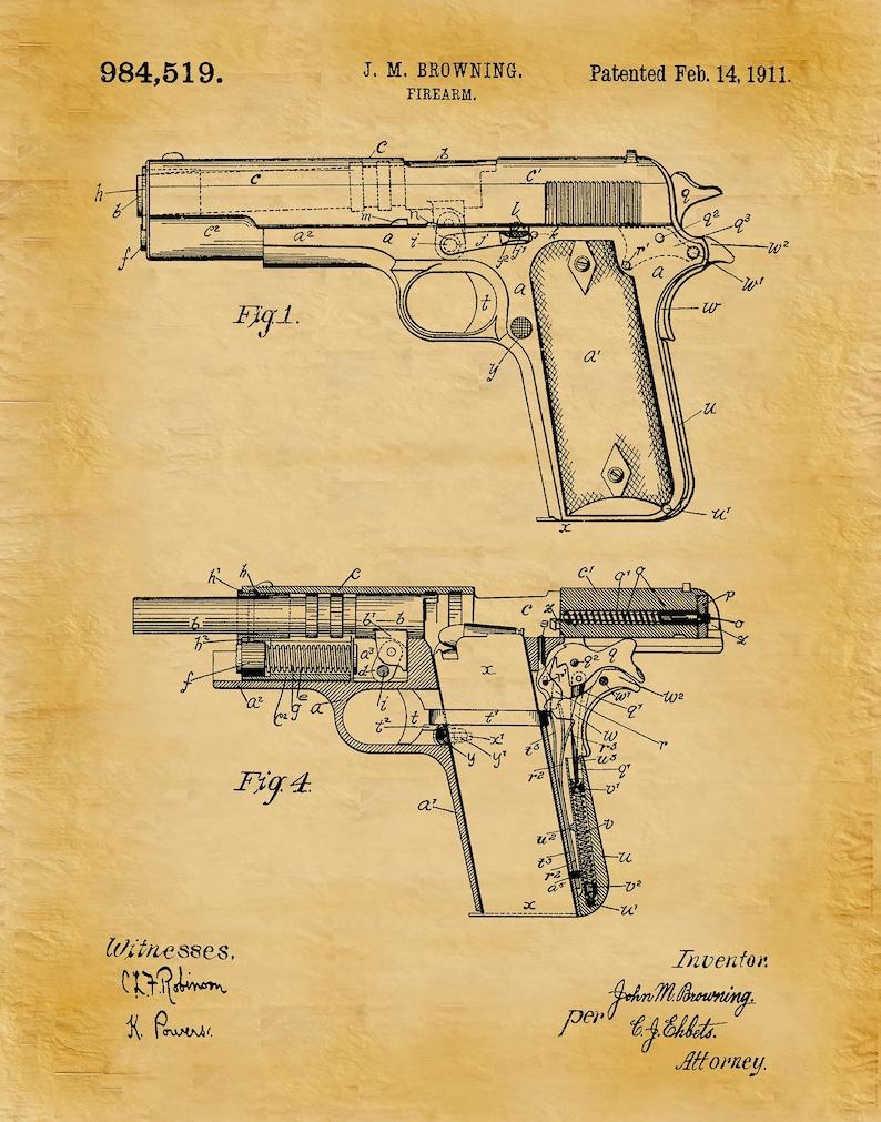 Fine M1911 Browning Pistol Patent Print M1911 Pistol Poster Gun Etsy Wiring Cloud Hisonuggs Outletorg