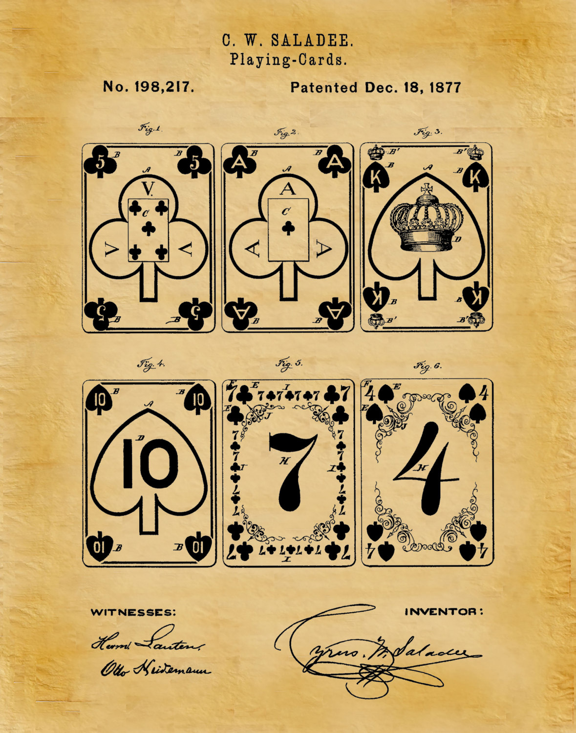 1877 Playing Cards Patent Print - Euchre Cards - Game Room Decor Art ...