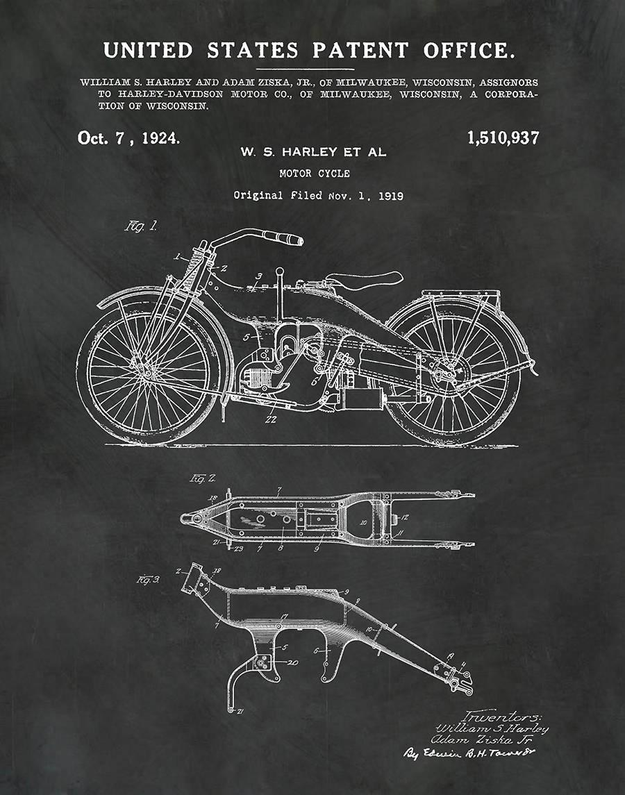 1919 Harley Patent Print Vers #2 Vertical - Harley Poster