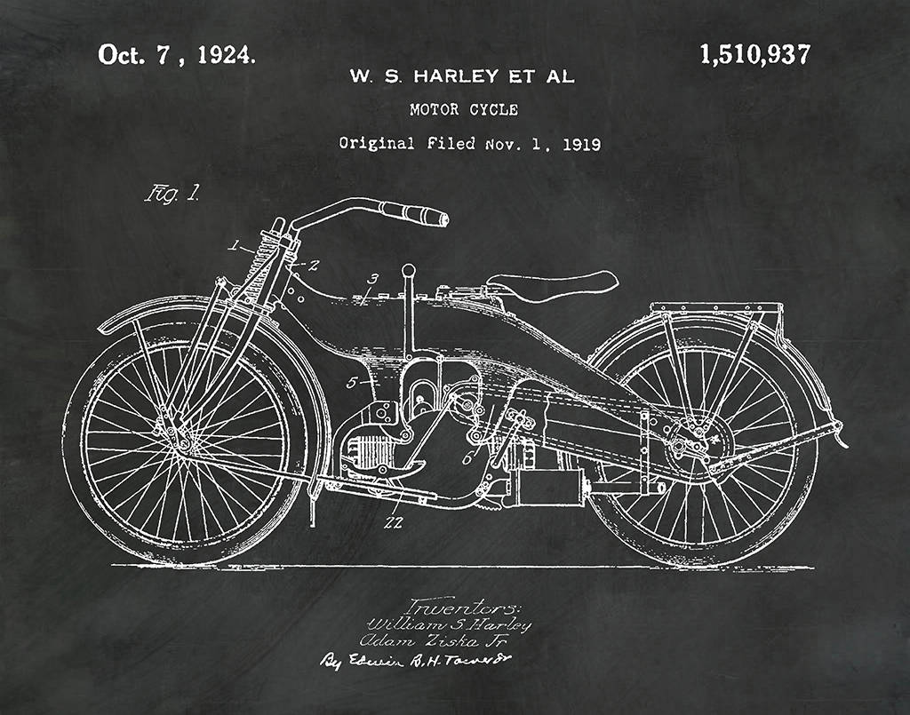 1919 Harley Motorcycle Patent Print - Harley Poster - Wall Art