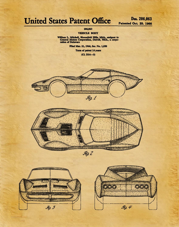 Patent 1966 Corvette - Sports Car - Poster - Wall Art - Chevrolet ...
