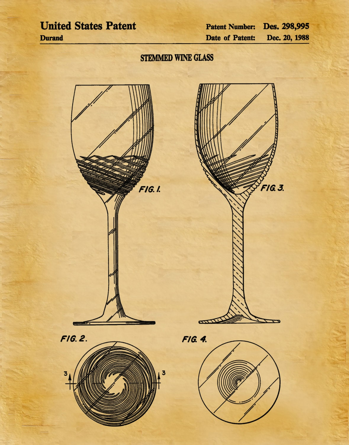 Patent 1988 Wine Glass - Wine Art Print Poster - Wall Art - Winery ...