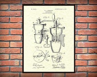 Patent 1905 Coffee Mill - Coffee Grinder - Wall Art Print - Kitchen Art- Poster - Restaurant Wall Art - Coffee Shop Wall Art