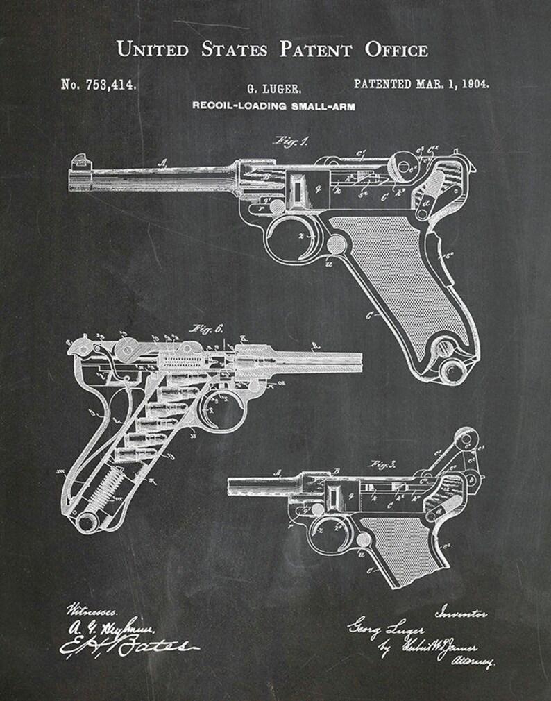 1904 Luger Patent German Pistol Recoil Loading Firearm - Art Print - Poster  - WWI Luger Firearm - Military Weapon - German Military gun