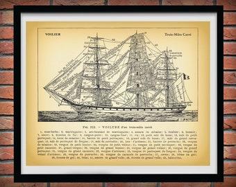 1913 Three Mast Sailing Ship, Voilure Trois-Mats Carre, Nautical Poster, Artist Alexander Brun, Old Ship Diagram, Tall Ship Print