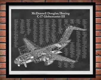 C17 Globemaster III Aircraft Print, Boeing C17 Blueprint, McDonnell Douglas C17 Globemaster Drawing, Boeing C17A Cutaway Drawing