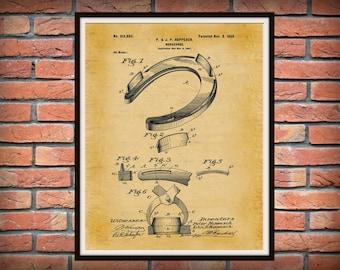 1898 Horseshoe Patent Print - Art Print - Good Luck Horseshoe - Equine Art Poster -  Cowboy Art - Blacksmith Art - Farrier Art