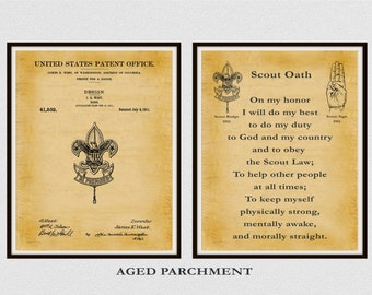 Patent 1911 Boy Scout Badge and Boy Scout Oath - Set of 2 Prints - Boy Scouts of America - BSA - Eagle Scout - Cub Scout - Be Prepared Badge