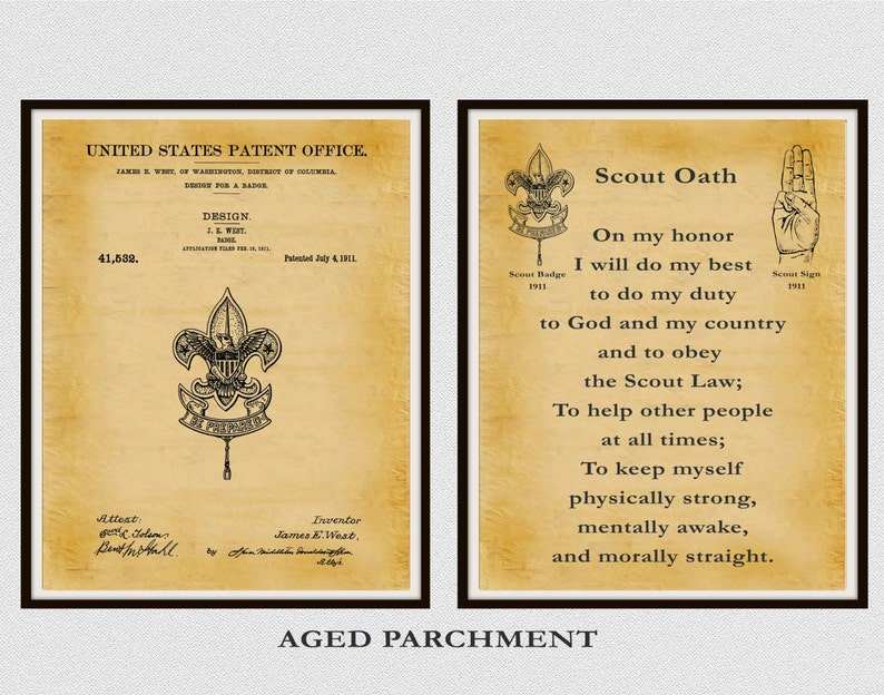 photo relating to Boy Scout Oath in Sign Language Printable called Patent 1911 Boy Scout Badge and Boy Scout Oath - Mounted of 2 Prints - Boy Scouts of The us - BSA - Eagle Scout - Cub Scout - Be Composed Badge