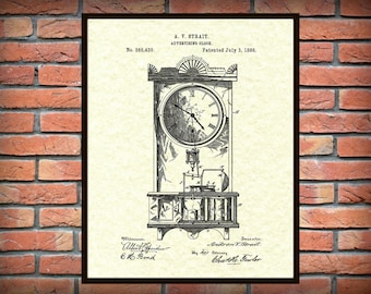 1888 Clock Patent Print - Antique Clock Poster- Grandmothers Clock - Antique Clock Blueprint - Mantle Clock Invention
