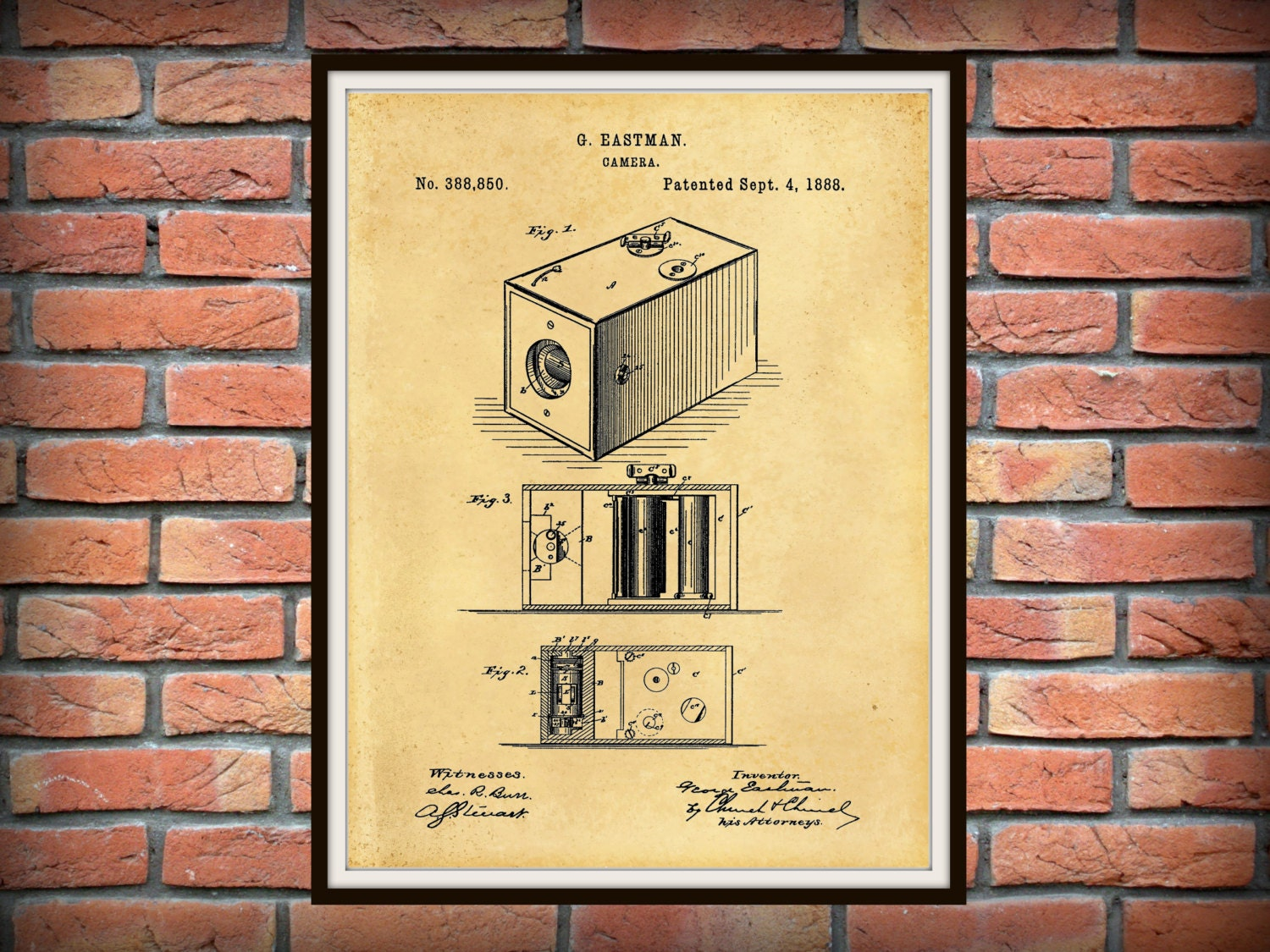 Patent 1888 Kodak Box Camera Art Print - Poster Print- George ...