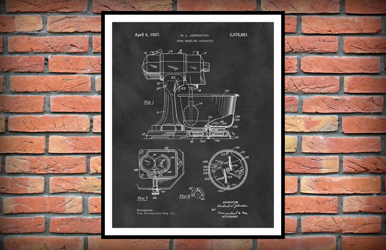1937 Kitchenaid Mixer Patent Print Kitchen Aid Mixer Poster Kitchen Decor Bakery Shop Decor Pastry Shop Decor Pastry Chef Gift Idea