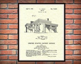 Patent 1939 Frank Lloyd Wright House Architecture - Dwelling Art Print - Poster Print - Wall Art - Engineering Design