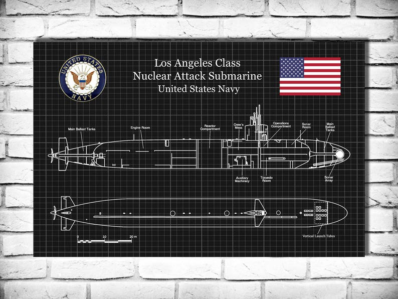uss los angeles ssn 688 class submarine art print poster etsy ww2 submarine  diagram image 0
