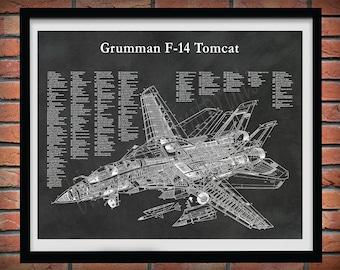 F-14 Tomcat Cutaway Drawing, F14 Fighter Jet Poster, Grumman F-14A Fighter Jet Print, US Military Fighter Jet, F-14A Cutaway Drawing Poster