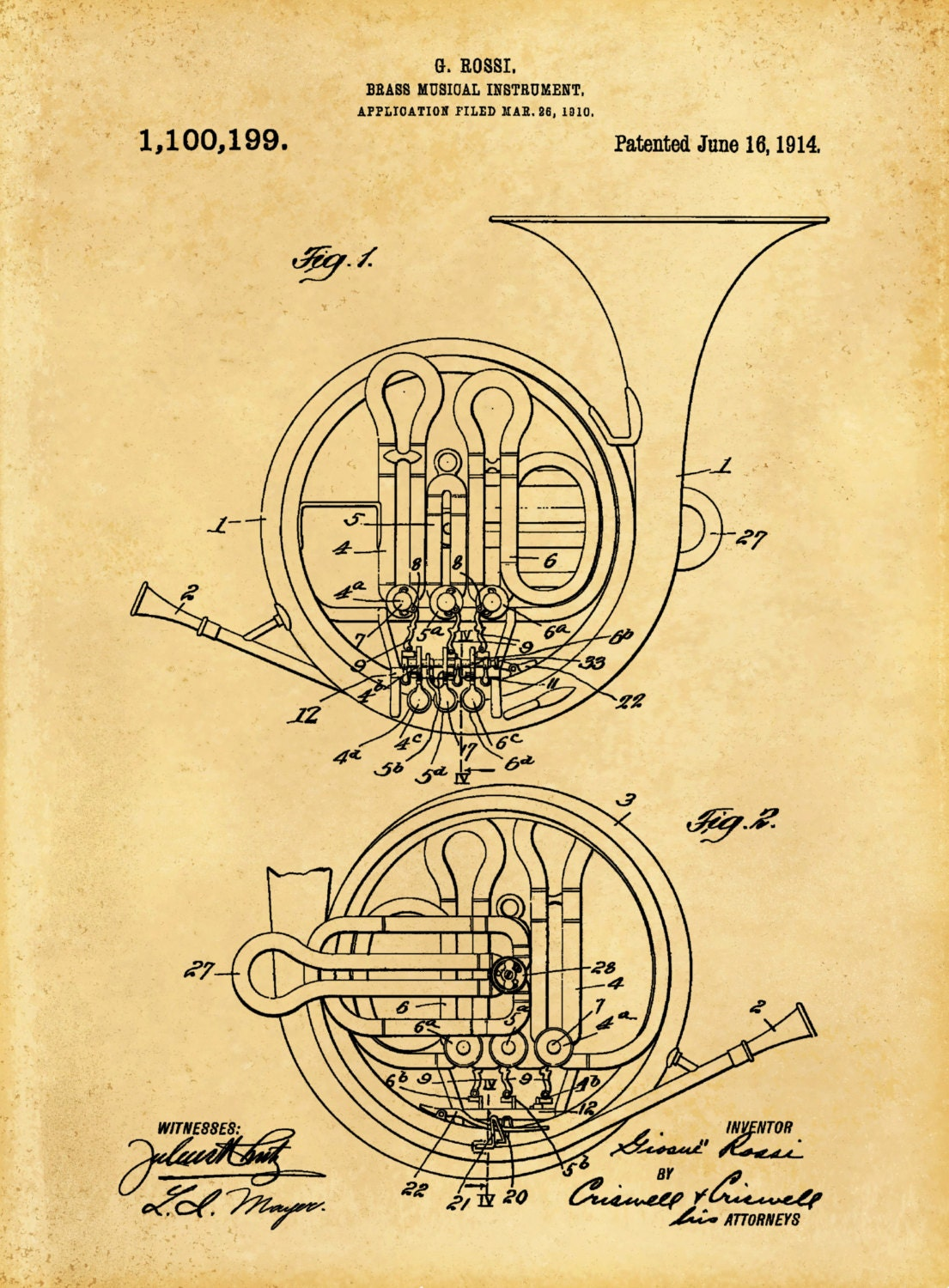 French Horn Patent Patent Print Wall Decor Music Poster Music