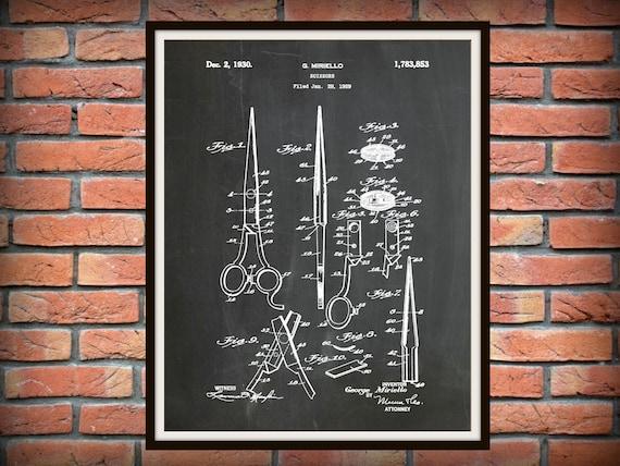Vintage Hair Stylist Cosmetology Scissors Patent Art Print Official US Patent