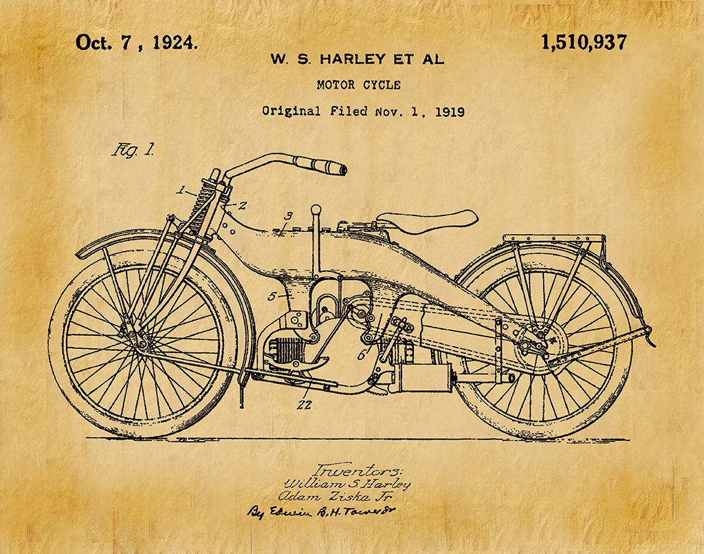 1919 Harley Motorcycle Patent Print Harley Poster Wall