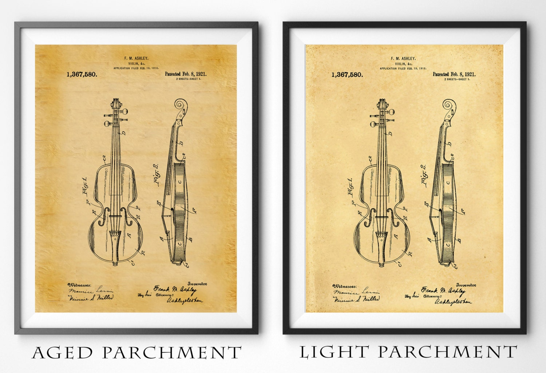 1921 Violin Patent Print - Violin Poster - Musical Instrument Patent ...