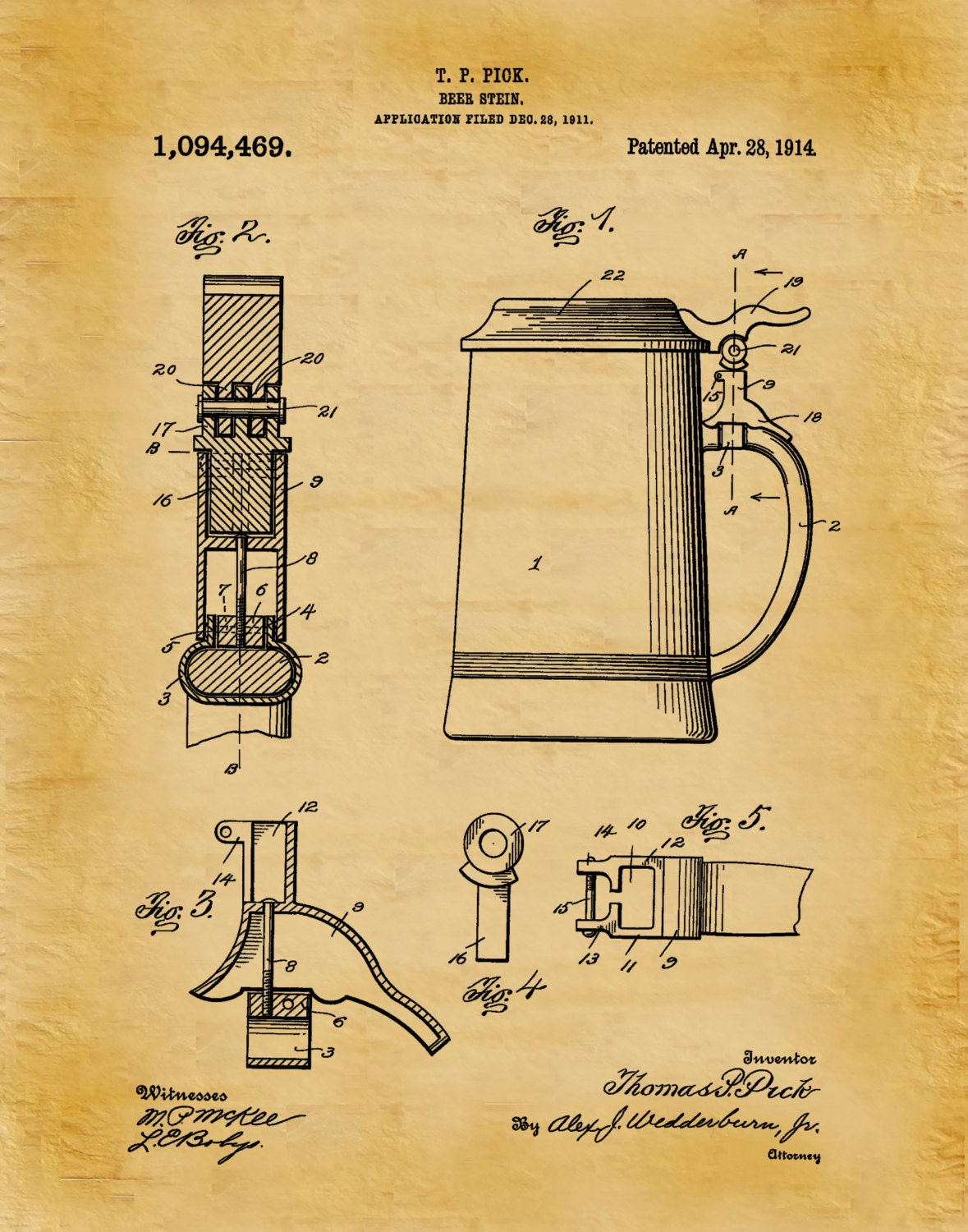 Patent 1914 Beer Stein - Art Print Poster - Man Cave - Sports Bar ...