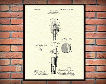 1908 Ophthalmoscope Patent Print - Poster - Medical - Doctors Office - Optometrist Office Decor - Ophthalmoscope Invention