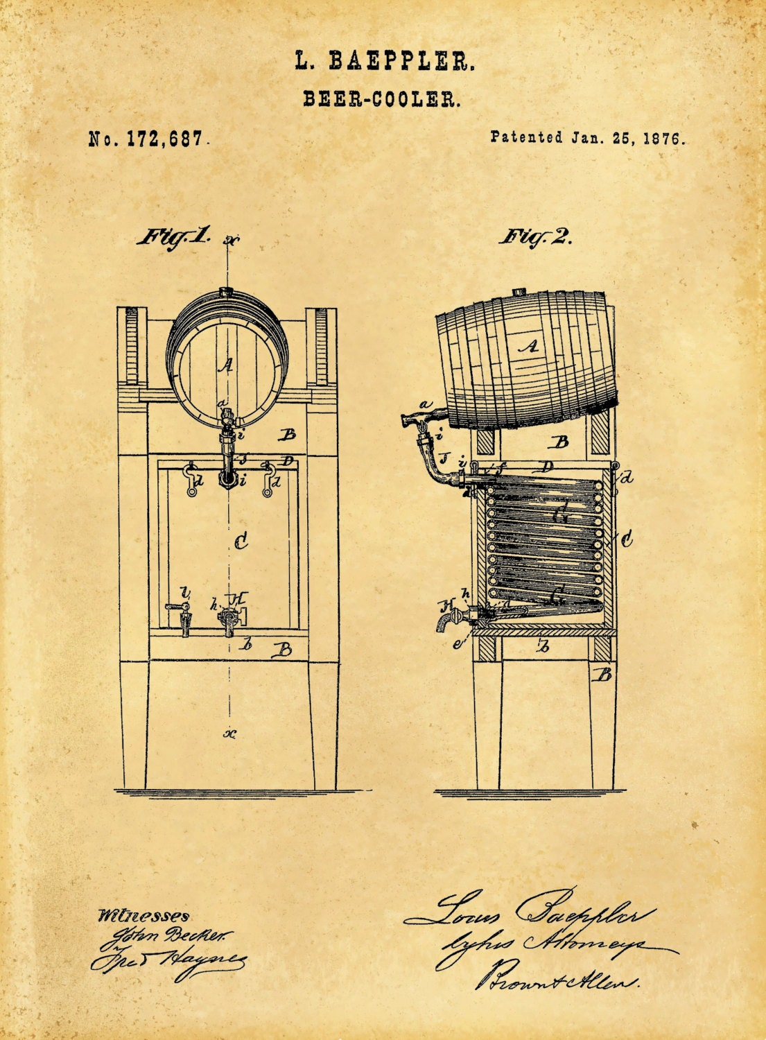 Patent 1876 Beer Cooler Design Art Print Poster - Man Cave - Wall ...