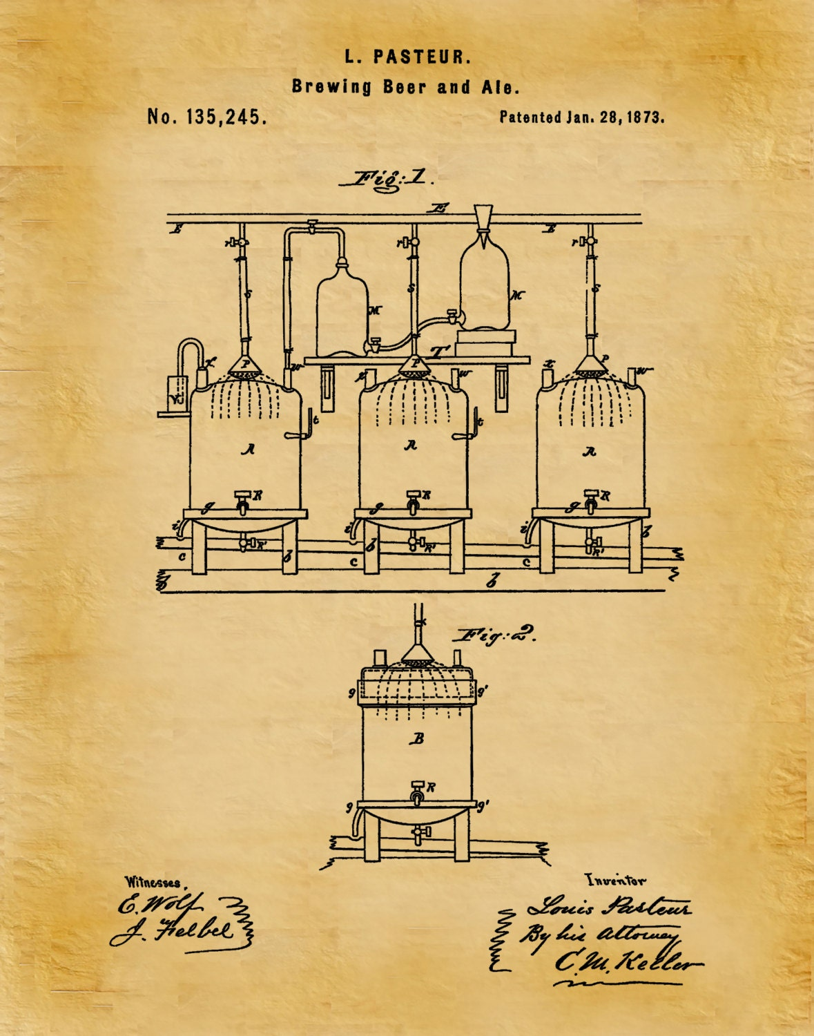 Patent 1873 Brewing System for Beer or Ale - Art Print Poster - Wall ...