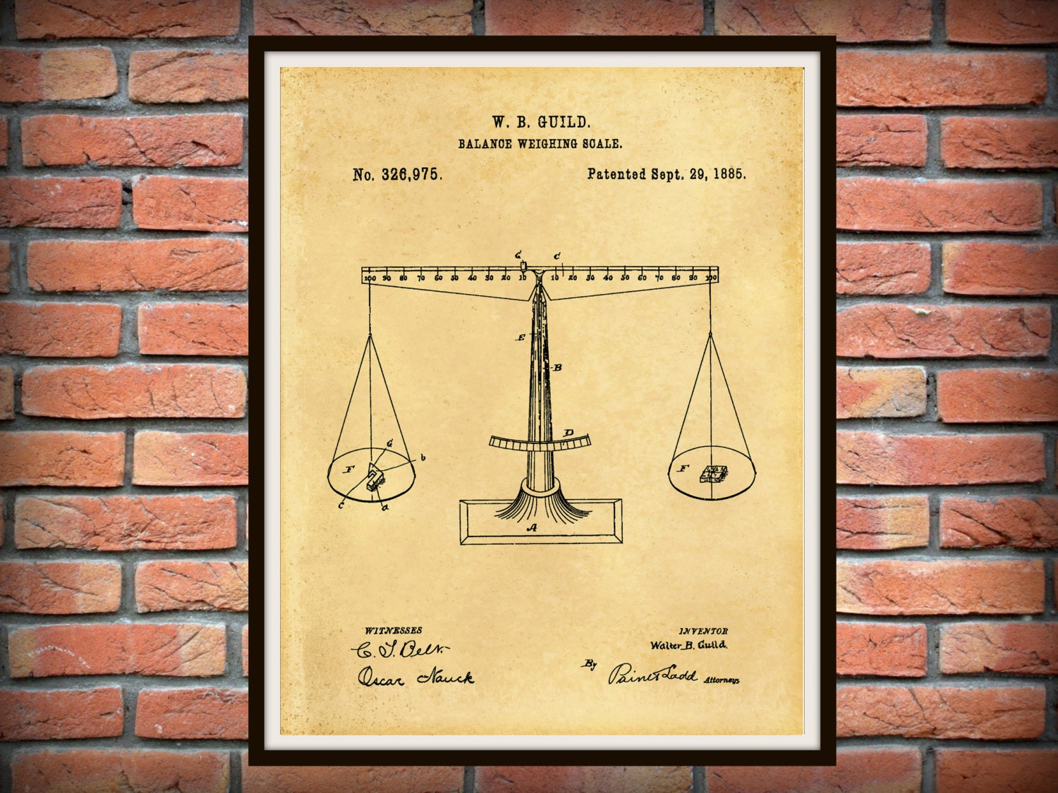 1885 Balancing Scale Patent Print - Scales of Justice Art Print ...
