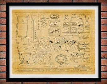 1860 Apothecary Equipment Print, Manhattan Apothecary Shop Drawing, Antique Pharmacist Equipment, Pharmacy decor, pharmacist gift