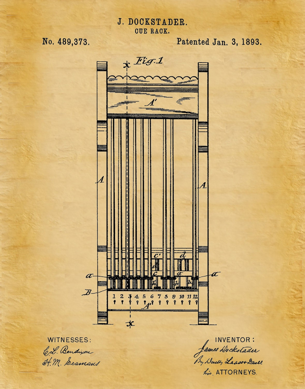 1893 Pool Cue Rack Patent Print Billiards Art Print