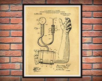 Patent 1914 Blood Pressure Cuff Art Print - Poster - Medical - BP Cuff - Doctor - Doctors Office - Physician Wall Art - Nurse Art - EMT Art