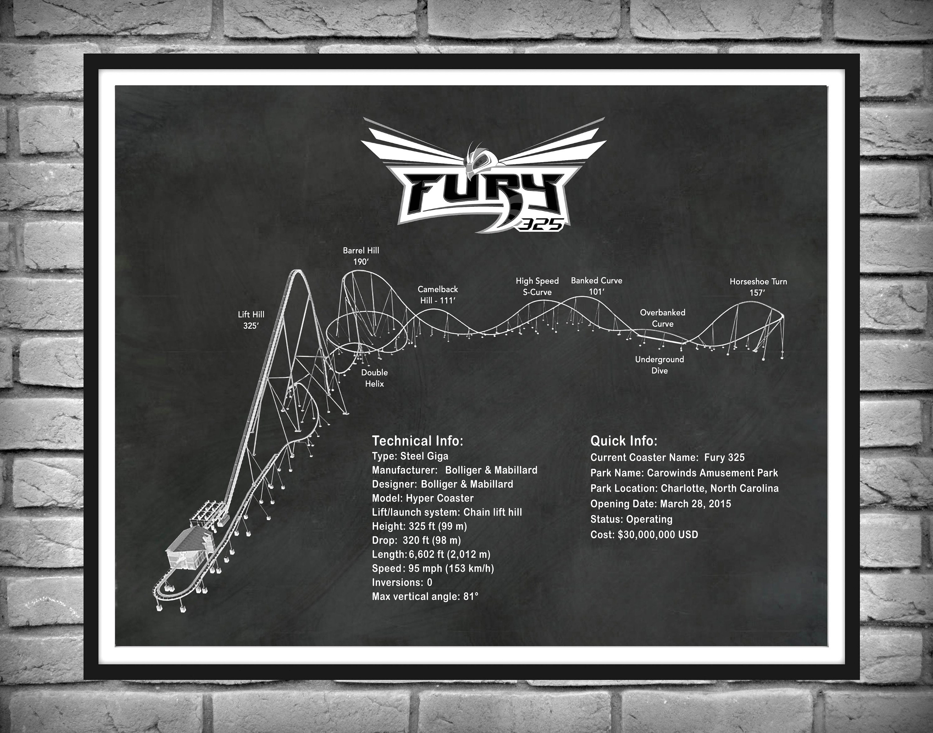 Fury 325 Roller Coaster Drawing, Fury 325 Roller Coaster Poster