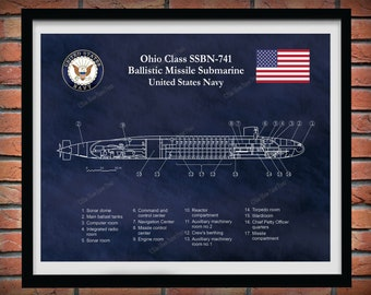 Ohio Class Submarine Blueprint, USS Maine SSBN-741 Ballistic Missile Submarine Poster, Ohio Class Ballistic Missile Submarine Drawing