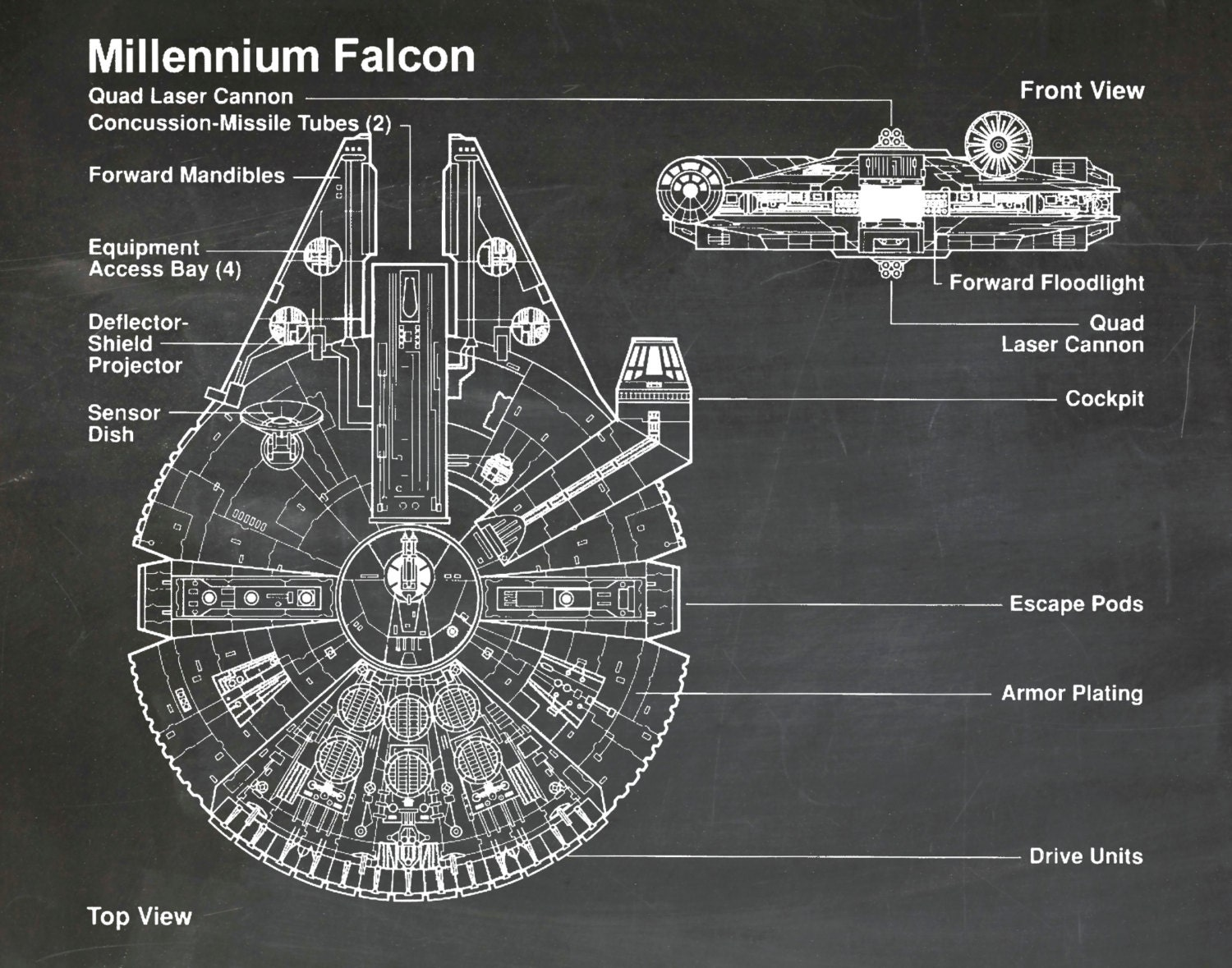 Star Wars Millennium Falcon Art Print Wall Poster   Drawing Illustration    Engineering Drawing   Schematic Drawing