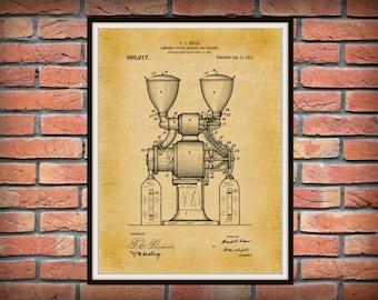 1909 Coffee Grinder Patent Print - Coffee Mill Blueprint - Restaurant Wall Art - Coffee Shop Decor - Household Decor - Barista Gift -