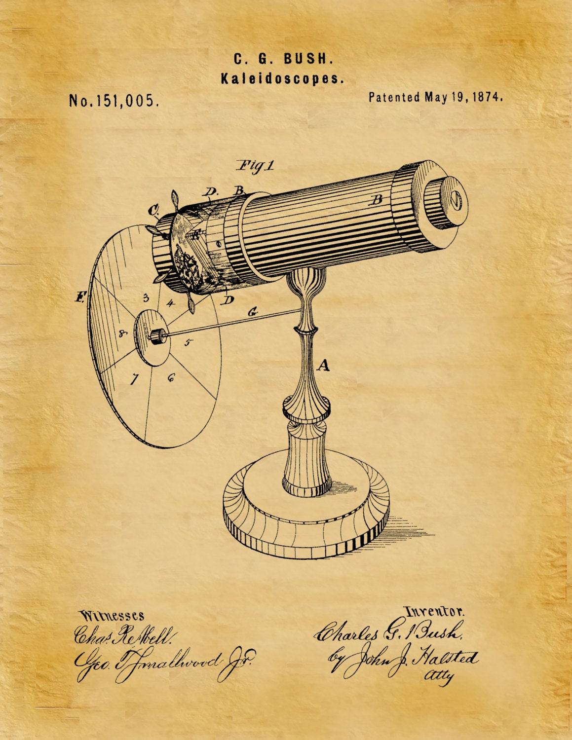 Patent 1874 Kaleidoscope Wall Art Print - Game Patent -Toy - Early ...