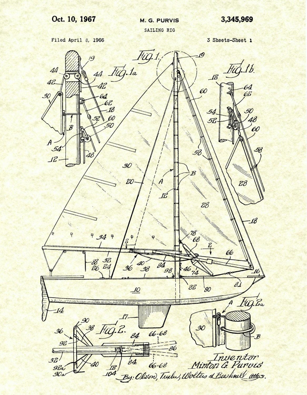 1967 Sailing Rig Patent Print - Sailboat Poster - SailBoat