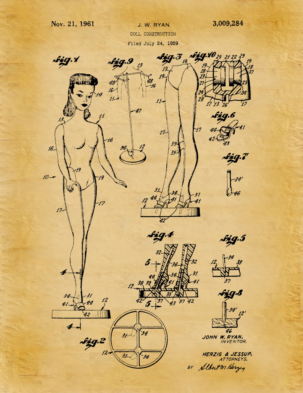 Patent 1961 Barbie Doll Patent Art Print Designed by John Ryan ...