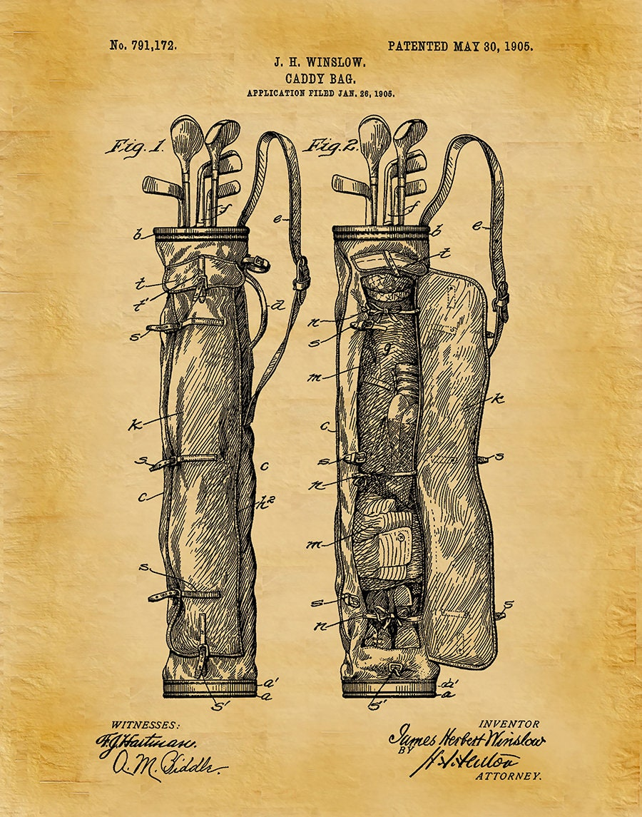 1905 Golf Bag Patent Print - Caddy Bag - Golf Pro Shop Decor - LPGA ...