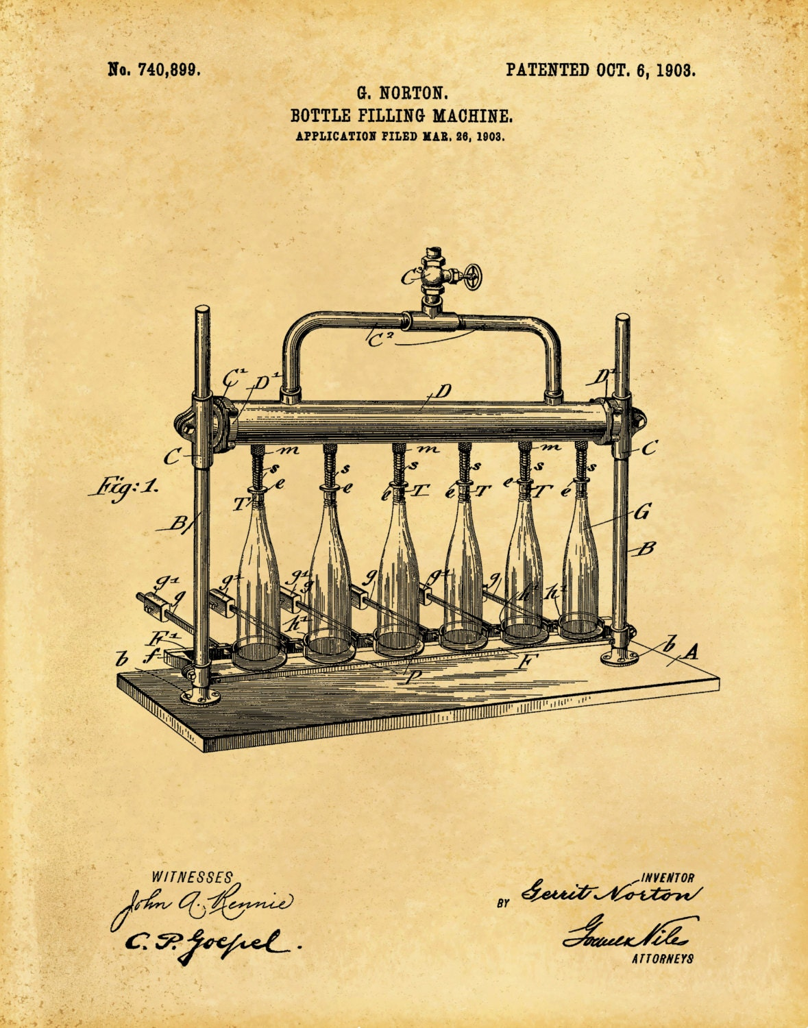 Patent 1903 Beer Bottle Filling Machine - Wine Bottle Filling - Art ...