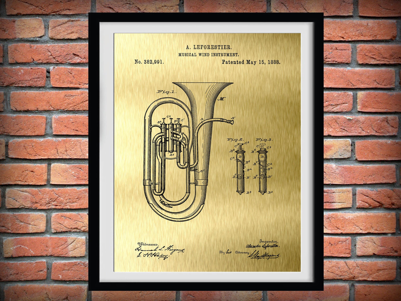 1888 Tuba Patent Print Sousaphone Musical Instrument | Etsy
