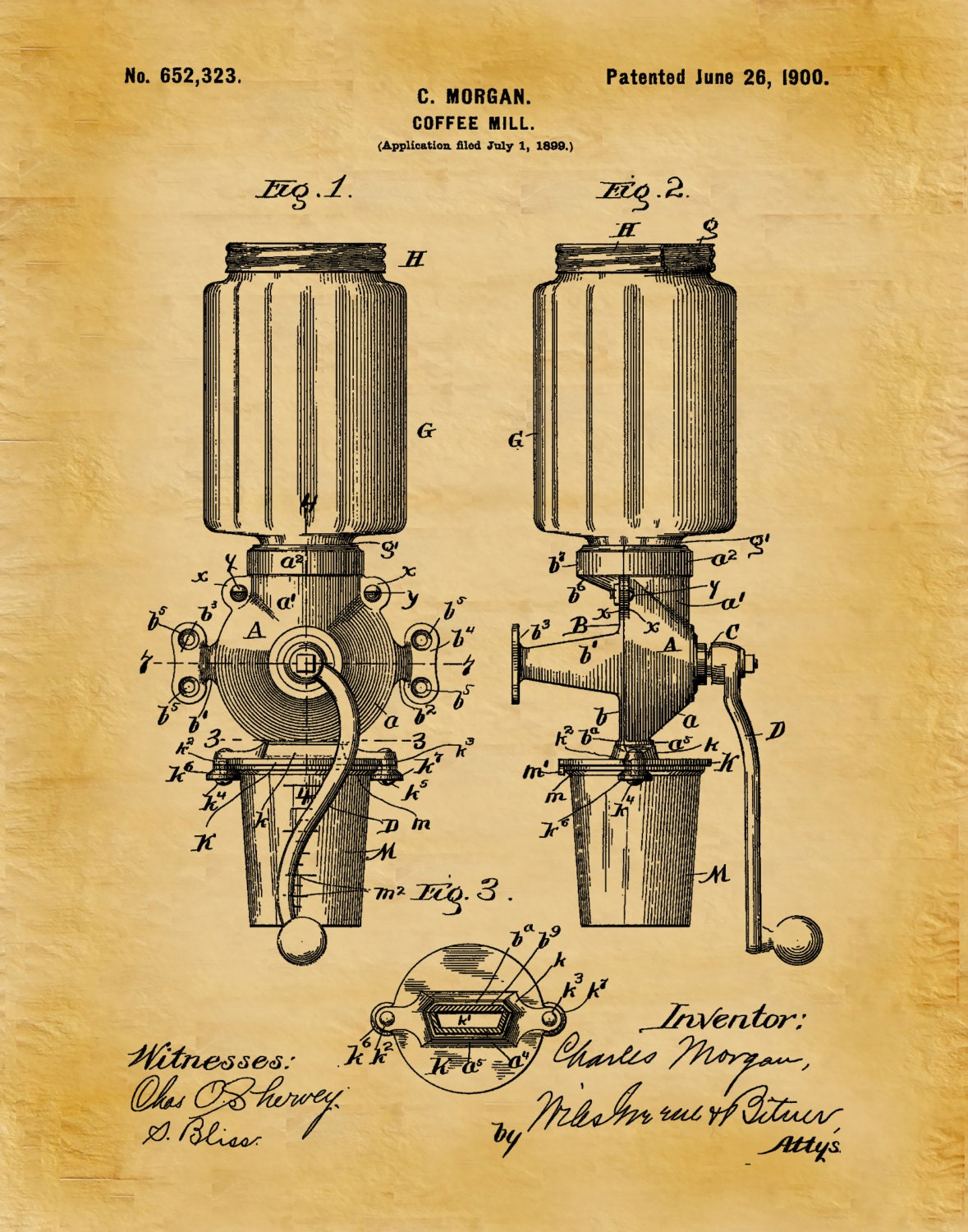 Patent 1900 Coffee Mill - Arcade Crystal Coffee Grinder - Wall Art ...