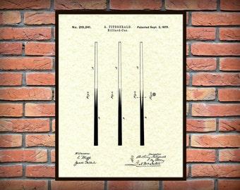 1879 Billiard Cue Patent Print - Pool Cue Poster Print - Pool Cue Drawing - Pool Hall Decor - Billiard Hall Decor - Pool Stick Blueprint