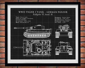 1942 German Panzer Tiger I Tank - German Nazi Army Tank - WWII Military Tank Blueprint - Soldier Wall Art - WWII Collector Print