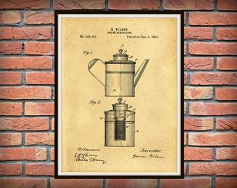 Patent 1894 Percolator Patent Coffee Pot Patent - Art Print - Kitchen - Cooking - Poster - Restaurant Art - Coffee Shop Art - Housewares