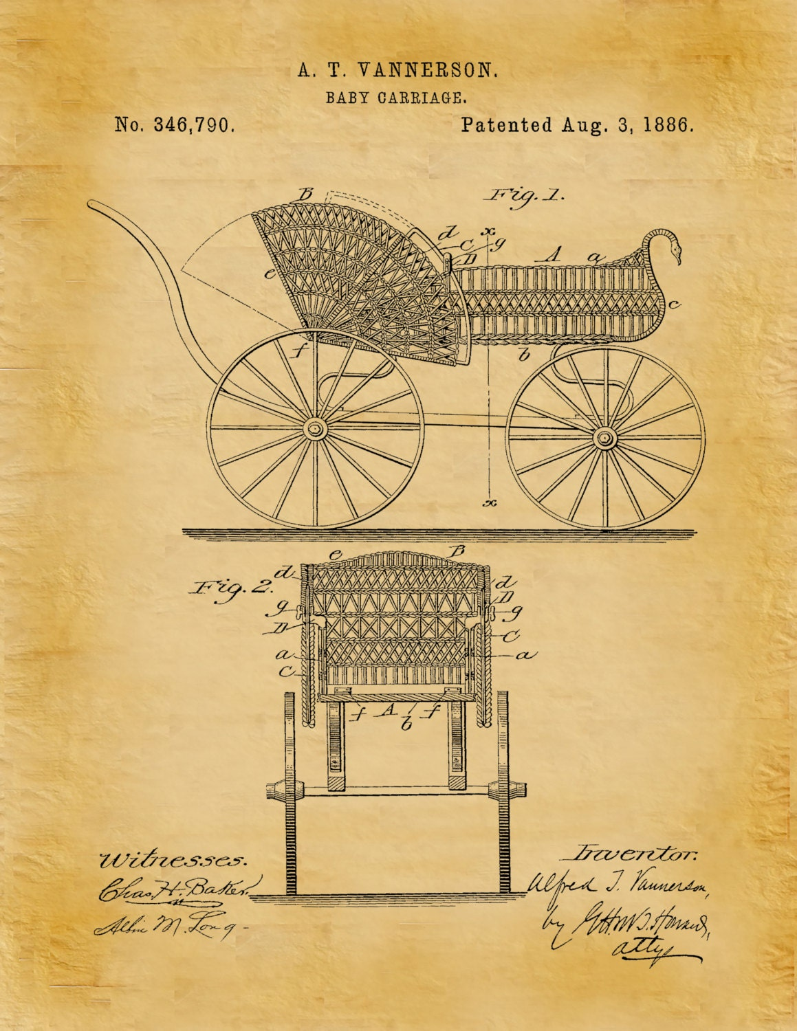 Patent 1886 Baby Carriage Patent Art Print Poster Wall Art - Nursery ...